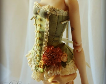 Victoriana Collection- Fine Couture Corset for Popovy BJD- Moss Green (Made to Order)