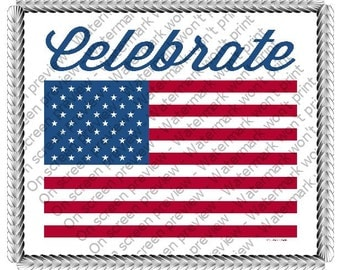 Celebrate America Patriotic Flag Edible Cake or Cupcake Toppers - Choose Your Size