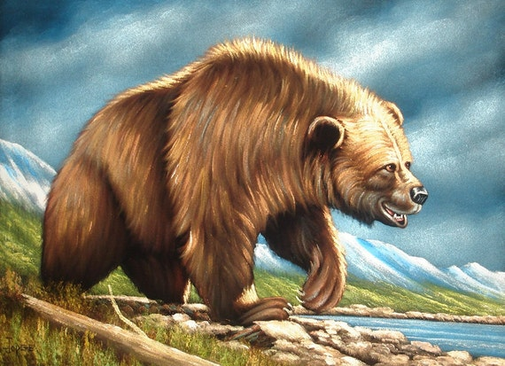 Grizzly bear wild animal black velvet oil painting handpainted signed ...
