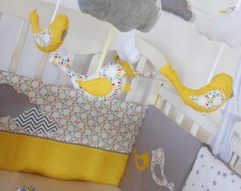 Mobile complet pour bébé, jaune , gris et blanc, oiseau et nuage
