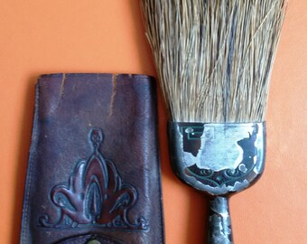 Natural Bristle Velet Clothing Brush With Leather Embossed Case