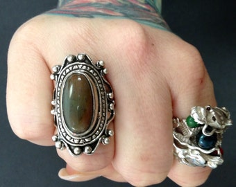India Agate + Antiqued Sterling Silver .925 Statement Ring Size 8.5