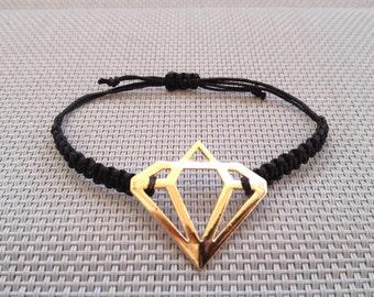 Diamond Bracelet, Friendship Bracelet, Macrame Bracelet, Diamond Pendant bracelet,Bracelet, Charm Bracelet, Diamond, Macrame Jewelry