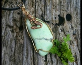 """Nevada Variscite ~Mermaids Realm~ Hand Wire Wrapped in Gold Fill 14/20 with an 18""""Black Corded Necklace."""