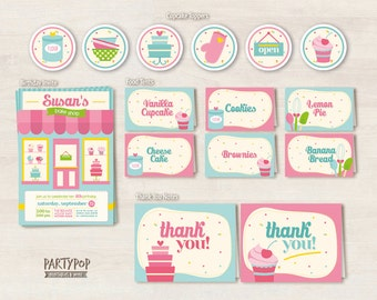 Bakery shop Party kit (includes Invitation,cupcake toppers,thank you notes + personalized food labels)