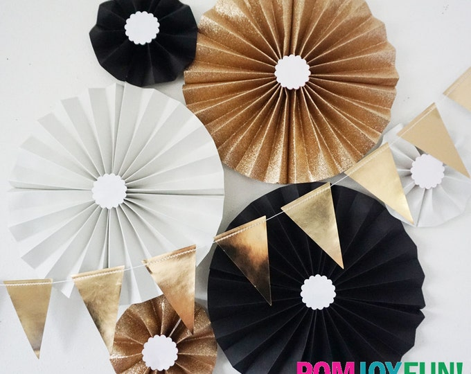 Black and Gold Glitter Party Fans | Pom Wheel | Rosettes | Paper Medallions | Wedding decor | Birthday decoration | Parties | Paper Pinwheel