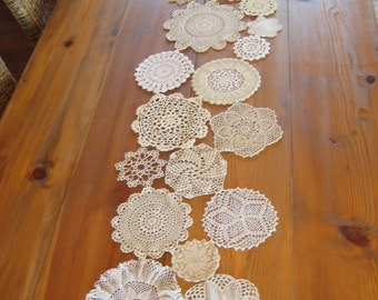Crocheted Doily Table Runner, Vintage, Neutral Colors,  Made to Order
