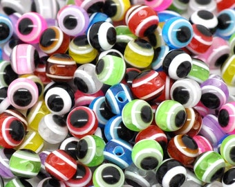 250 Assorted Colour Striped Acrylic Evil Eye Beads 6mm.  Ideal for jewellery, decoration,