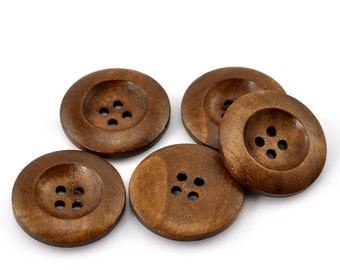 Chestnut Colour Classic Design Wooden Buttons 25mm.  Sewing Knitting Scrapbook and other craft projects