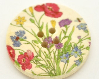 Wild Flower Garden Design Wooden Buttons 30mm.  Sewing Knitting Scrapbook and other craft projects