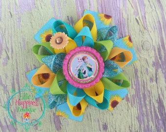 Frozen fever, Elsa and Anna  character  inspired  Loopy flower Boutique hair bows, girl hair bows