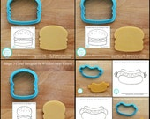 Hamburger Cookie Cutter and Fondant Cutter - Three Design Styles to Choose From - **Guideline Sketches to Print Below**