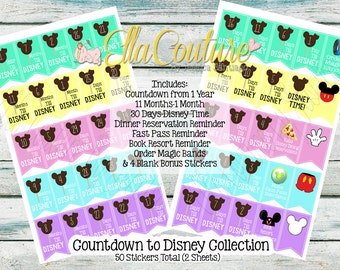 Countdown to Disney Banner Stickers by Ella Couture by Jessica for Planners
