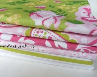 Riley Blake Fabric Bundle, Primrose Garden Half Yard Bundle or One Yard Bundle of 6, Green & Pink Floral Fabric, Cotton Quilt Fabric Bundle