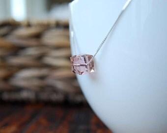 Swarowski Crystal 'Vintage Rose' Cube Bead Sterling Silver Pendant, Sterling Silver Crystal Pendant,  Swarowski Bead Necklace