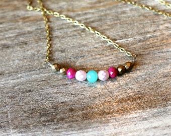 Summer Colorblcok Bead Statement Necklace