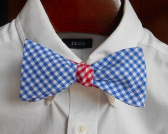 Bow Tie - University of Pennsylvania - UPenn Blue and Red Reversible Gingham - Men's self tie