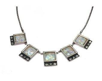 Square Shaped Roman Glass Necklace in Sterling Silver