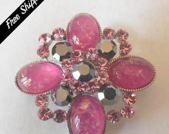 Vintage 4 Petal Pink Rhinestone Brooch/Pin