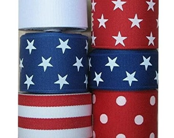 Red, White & Blue Stars, Stripes and Solid Grosgrain Ribbon - 30 yards - 4th of July / USA / Patriotic Ribbon
