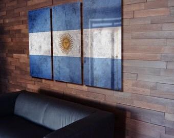 Triptych Argentina Flag Rustic Worn Metal Wall Art Grunge