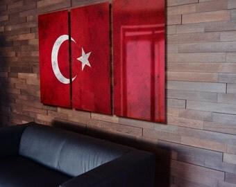Triptych Turkey Flag hanging Rustic Worn Metal Wall Art Grunge