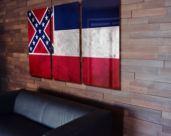 Triptych Mississippi State Flag hanging Rustic Worn Metal Wall Art Grunge