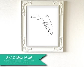 Printable Florida State Art Print 8x10 Digital Wall Art Gift