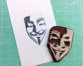 V for Vendetta. Guy Fawkes mask stamp(no.2). Rubber stamp. Hand carved stamp. Mounted