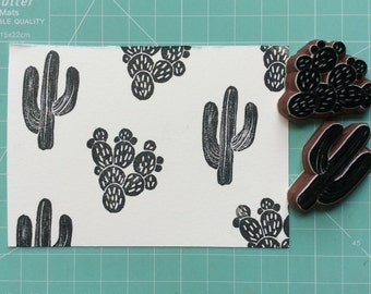 cactu stamp(No.2). rubber stamp.hand carved stamp.mounted