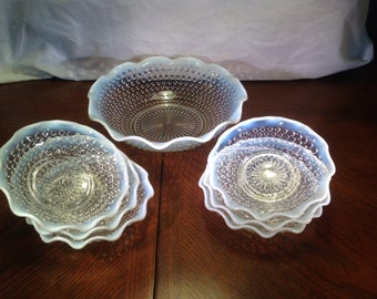 Mid Century Anchor Hocking Moonstone Clear Opalescent Hobnail Flared Serving Bowl With Six Bon Bon Plates