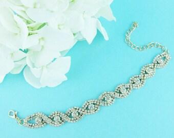 Gold Rhinestone Bridal bracelet, wedding bracelet, rhinestone crystal bracelet, crystal bracelet, bridal jewelry, wedding accessories