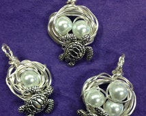 Turtle Nest Pendant with Mama Turtle - choose 1, 2, 3, 4 or more pearl eggs