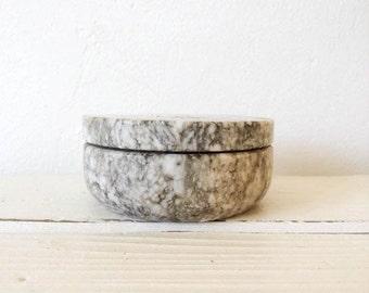 Vintage Round Stone Lidded Box