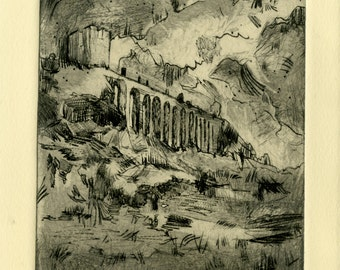 "Drypoint ""Dawn on the Bridge"""
