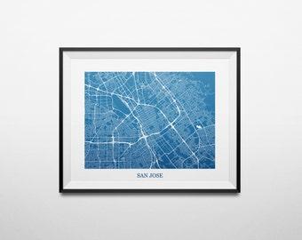 Map of San Jose, California Bay Area Abstract Street Map Print