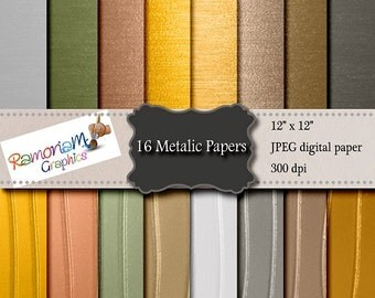 16 Brushed and Stripy Metallic, Metal Digital Paper & Backgrounds