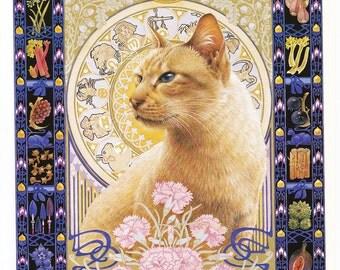 Sagittarius vintage cat print Lesley Anne Ivory feline illustration star sign horoscope astrology celestial  8 x 11 inches