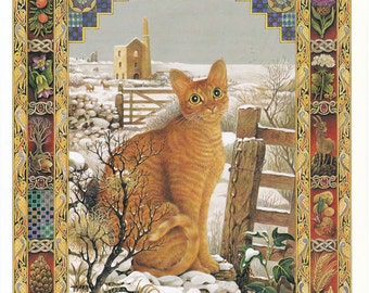 Capricorn star sign horoscope zodiac vintage cat print Lesley Anne Ivory feline illustration astrology celestial  8 x 11 inches