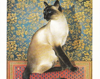 Cat print Lesley Anne Ivory Siamese oriental feline illustration 7.5 x 11 inches