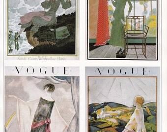 Vogue Magazine Cover art deco art nouveau home decor print fine art fashion vintage 8.5 x 11.5 inches
