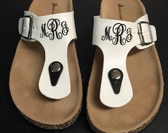 Monogrammed Sandals Flip Flops