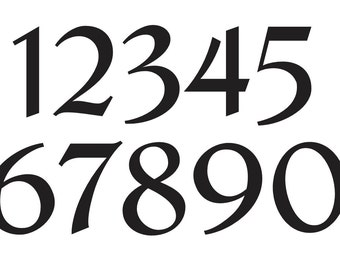 Primitive number stencil 4 papyus font numbers 0 9 for for Classic house number fonts