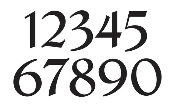 number stencil 3 french chic font numbers 0