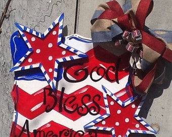 Patriotic God bless America door hanger, stars and stripes door hanger, stars and stripes sign, patriotic sign, 4th of July sign,