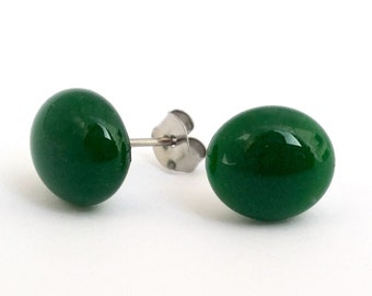 Pine Tree Green Glass Stud Earrings on titanium posts