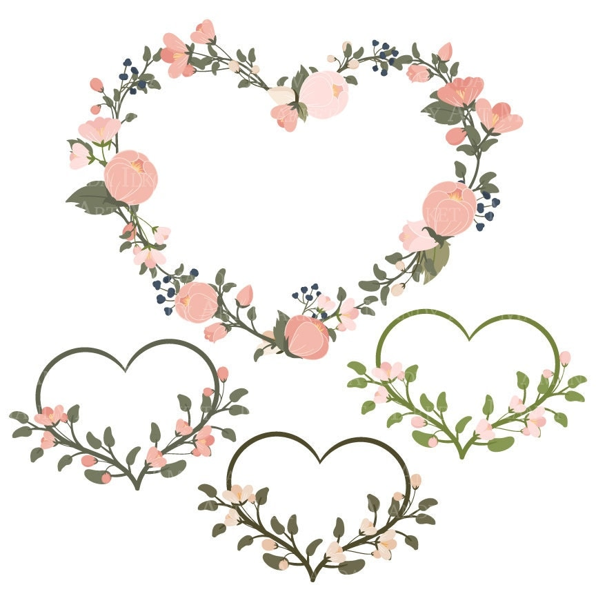 Emma Floral Heart Clipart Amp Vectors In Navy And Blush