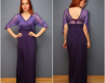 Vintage purple evening dress with lace / Maxi dress / Size S-M