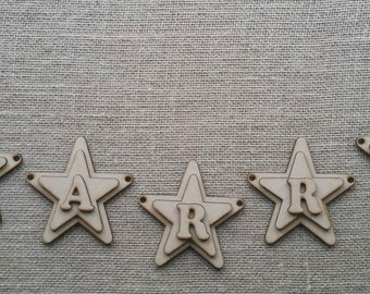 10 piece personalised wooden MDF star or heart bunting