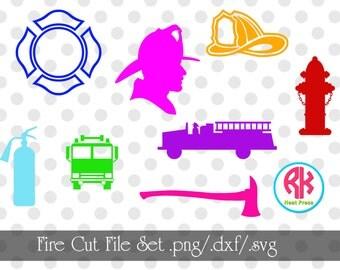 Fire Cut Files Set .PNG, .DXF, .SVG